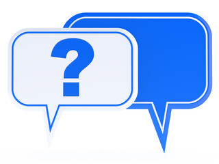 white and blue speech bubbles with a question mark