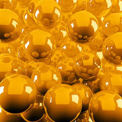 abstract background from bright orange shiny balls
