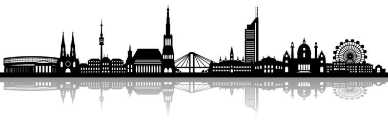 Wiener Skyline mit Spiegelung