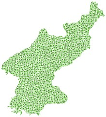 Map of North Korea in a mosaic of green squares