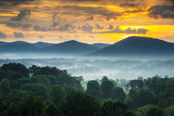 Asheville NC Blue Ridge Mountains Sunset and Fog Landscape