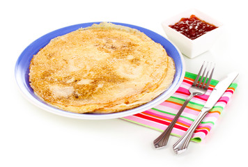 Stack of tasty pancakes isolated on white