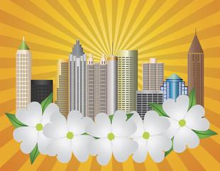 Atlanta Georgia City Skyline with Dogwood Illustration