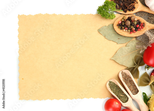 paper for recipes,vegetables and spices, isolated on white
