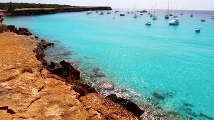 beautiful beach coast in formentera balearic island