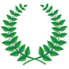 Green laurel wreath isolated on a white background.