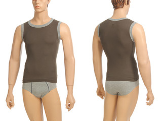 Mannequin with brief and vest on white background.