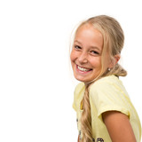 Laughing blond Girl, isolated