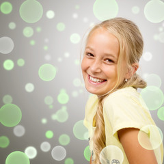 Laughing blond Girl, Green Bubbles