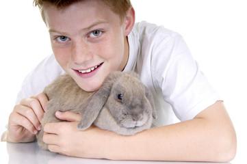 Kuscheln mit Kaninchen