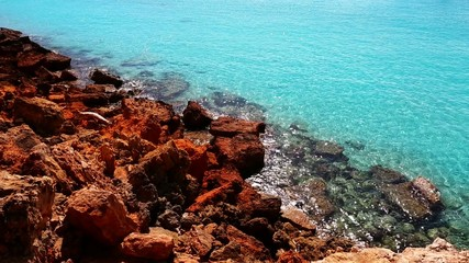 beautiful rocky beach in balearic islands