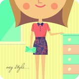 Girl dressed in fashionable clothes standing in her room
