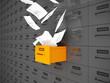 Akten fliegen aus Schublade 3D