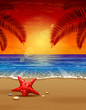 Sea sunset vector illustration. Paradise beach.