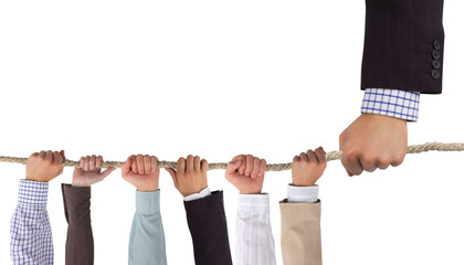 Hands holding rope with white psace for text, leadership concept