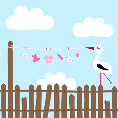 Stork On Fence Holding Clothes Line Baby Symbols Girl