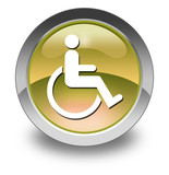 "Yellow Glossy Pictogram ""Disability Access Symbol"""