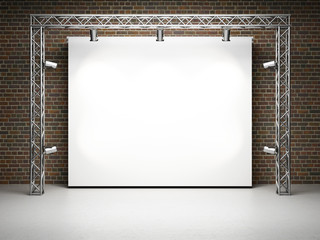 Blank trade exhibition stand with screen