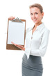 woman shows a blank clipboard