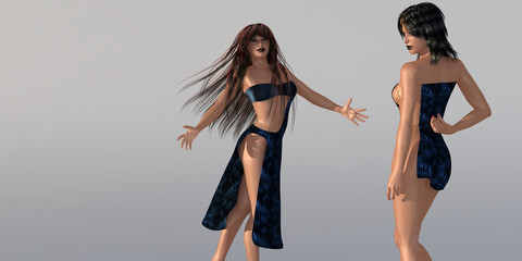 2 Models in Strandkleidern