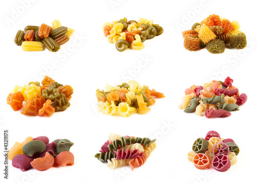 Assortment of pasta isolated on white background