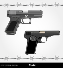 eps Vector image: Pistol & Barbed wire