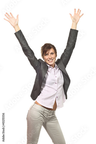 happy businesswoman portrait on white background
