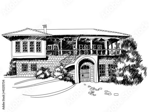 房子外观设计图夸张绘图
