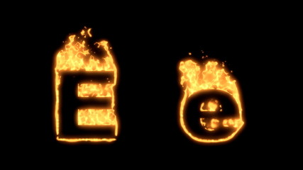 Upper and lower case E bursting into flames.