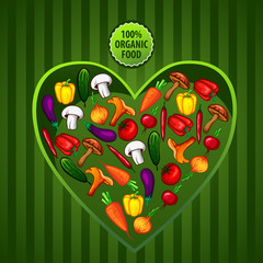 vector vegetables in a heart vegetarian organic food
