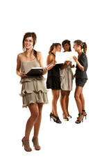 young businesswomen isolated on white background