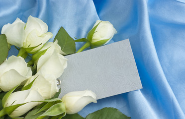 White roses blank gift tag celebration