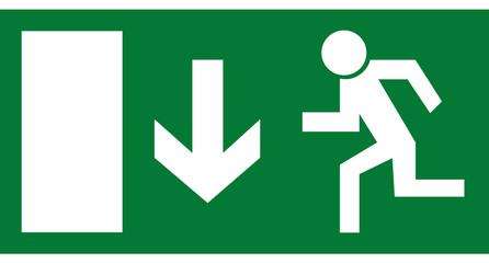 Rettungszeichen - Notausgang unten
