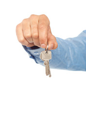 Man holding keys. Shallow DOF