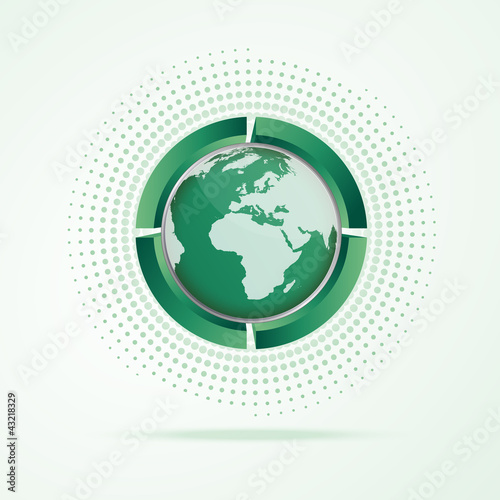 Green logo with world map
