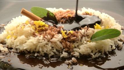 Chocolate risotto Risotto al cioccolato e arancia 烩饭和巧克力