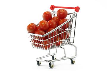 tomaten in einkaufswagen