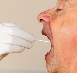DNA swab of saliva taken from senior man