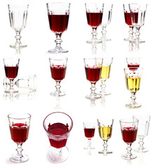 Set of glasses with white and red wine. White background.