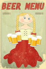 Retro Design Beer Menu - blond girl with beer