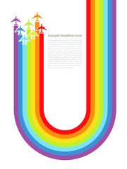 Background with rainbow airplanes. Vector illustration.