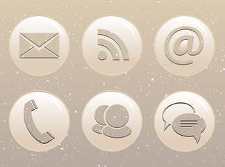 Glossy web icons on grunge