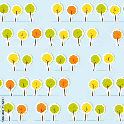 Fototapeta Abstract paper forest seamless pattern. Vector illustration.