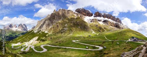 Dolomites landscape with mountain road. © Marina Ignatova