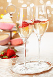 Romantic champagne and strawberries