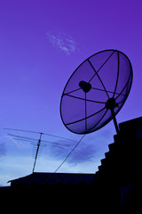 Satellite Dish and Antenna TV on Sunset Time