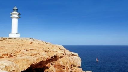 Barbaria cape Formentera lighthousein mediterranean sea