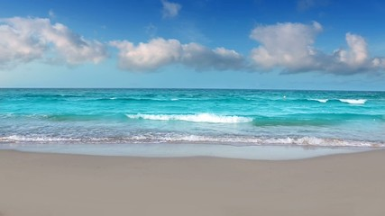 idyllic shore beach with turquoise water and white sand