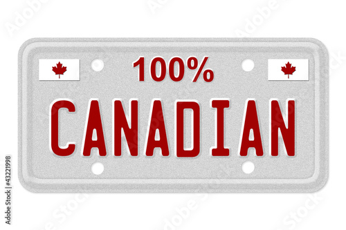100 percent Canadian made License Plate