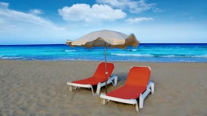idyllic shore beach turquoise water hammock and parasol